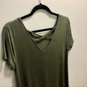 Green short-sleeve dress